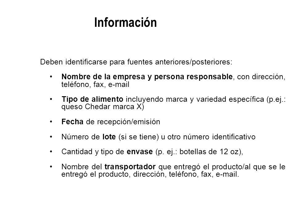 Deben identificarse para fuentes anteriores/posteriores: Nombre de la empresa y persona responsable, con dirección, teléfono, fax, e-mail Tipo de alim