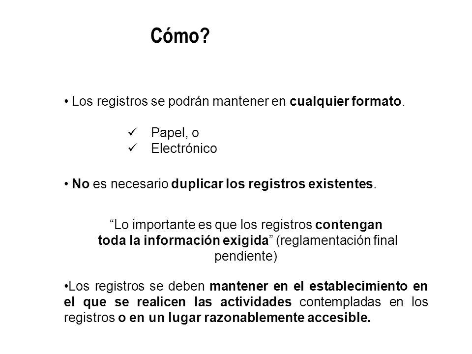Los registros se podrán mantener en cualquier formato. Papel, o Electrónico No es necesario duplicar los registros existentes. Lo importante es que lo