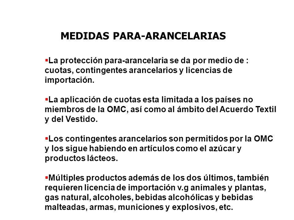 MEDIDAS PARA-ARANCELARIAS La protección para-arancelaria se da por medio de : cuotas, contingentes arancelarios y licencias de importación. La aplicac