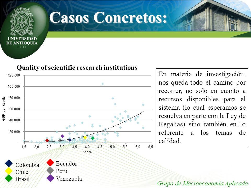 Casos Concretos: Grupo de Macroeconomía Aplicada Colombia Chile Brasil En materia de investigación, nos queda todo el camino por recorrer, no solo en