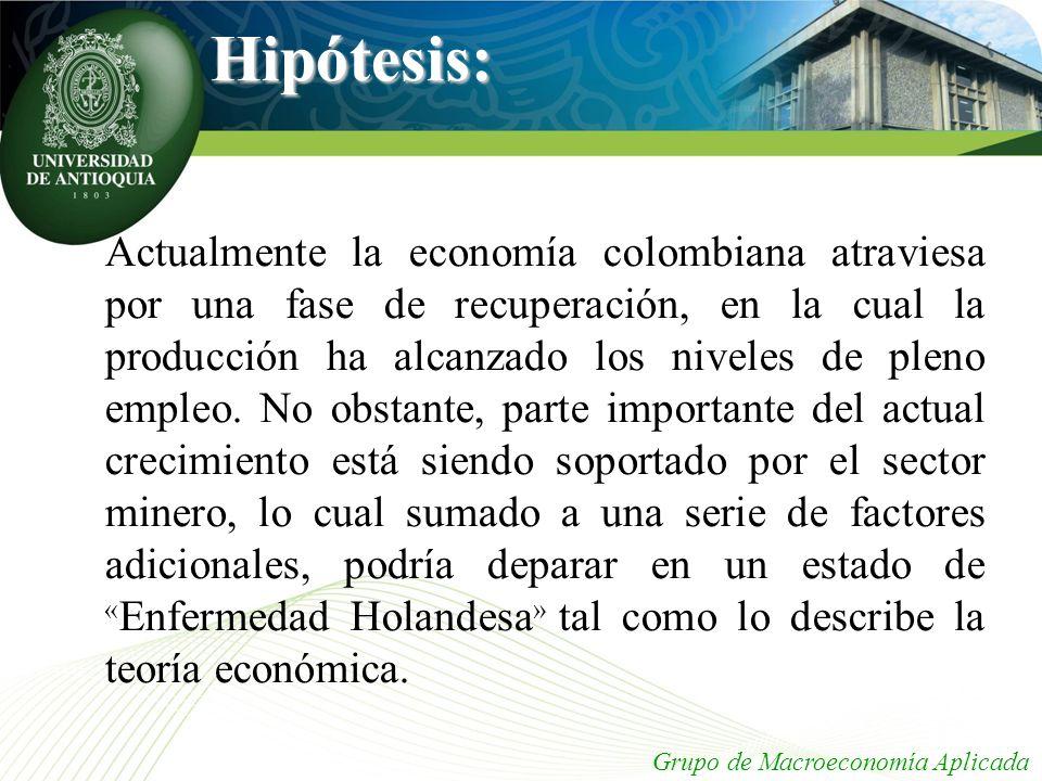 Hipótesis: Actualmente la economía colombiana atraviesa por una fase de recuperación, en la cual la producción ha alcanzado los niveles de pleno emple