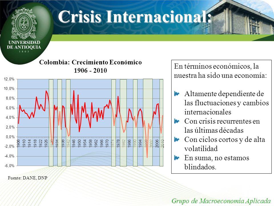 Crisis Internacional: Grupo de Macroeconomía Aplicada Colombia: Crecimiento Económico 1906 - 2010 Fuente: DANE, DNP En términos económicos, la nuestra