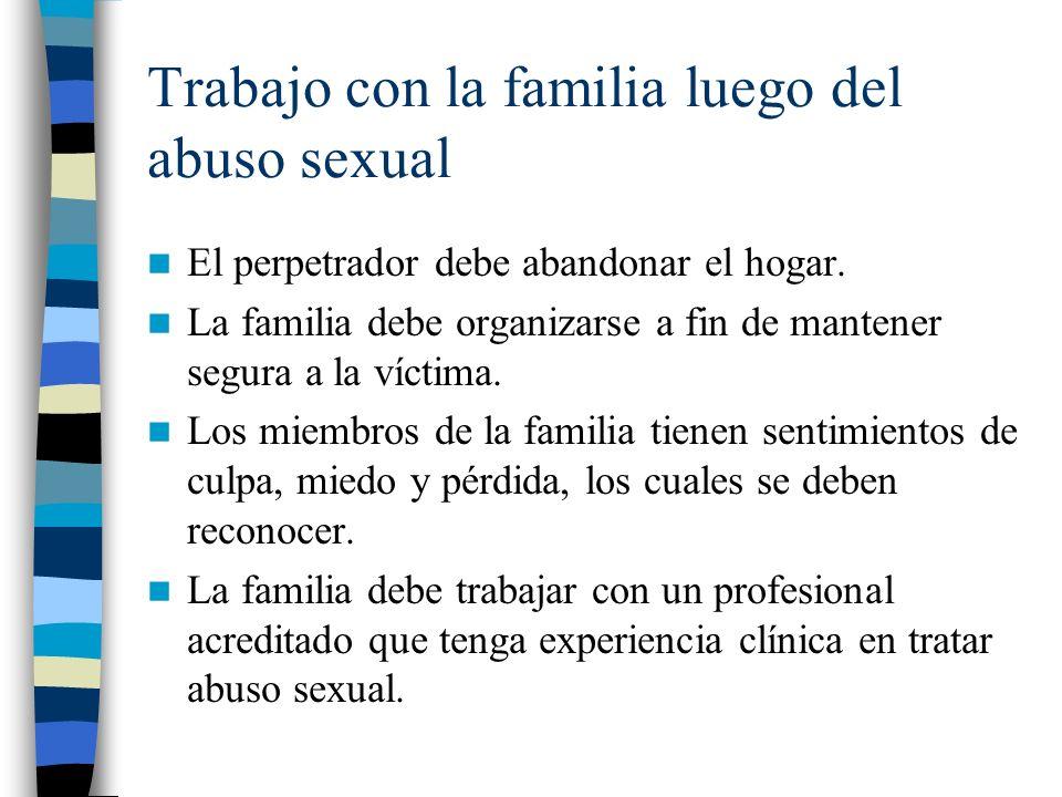 Trabajo con la familia luego del abuso sexual El perpetrador debe abandonar el hogar. La familia debe organizarse a fin de mantener segura a la víctim