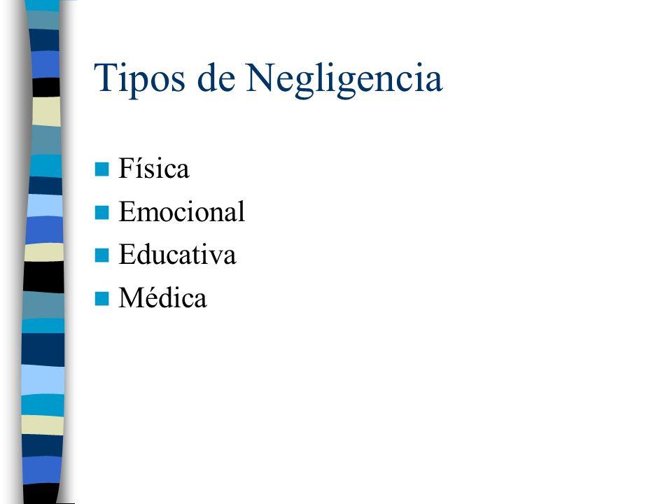 Tipos de Negligencia Física Emocional Educativa Médica