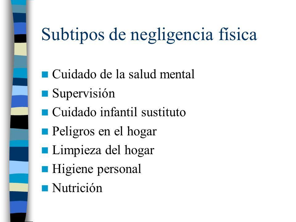 Subtipos de negligencia física Cuidado de la salud mental Supervisión Cuidado infantil sustituto Peligros en el hogar Limpieza del hogar Higiene perso