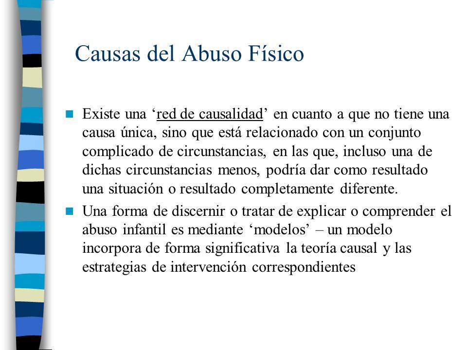 Causas del Abuso Físico Existe una red de causalidad en cuanto a que no tiene una causa única, sino que está relacionado con un conjunto complicado de