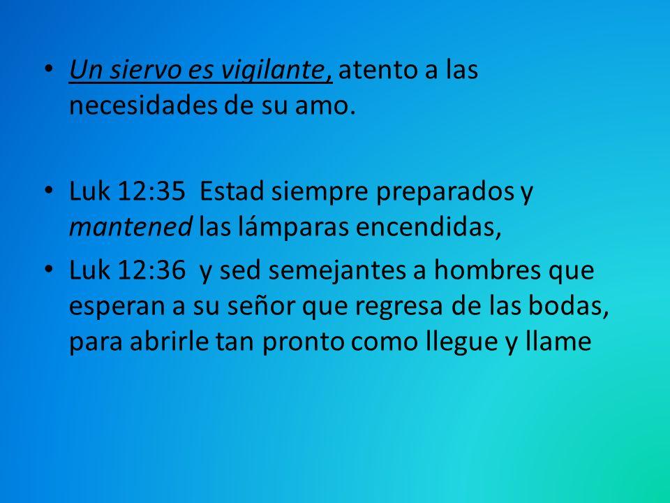Un siervo es vigilante, atento a las necesidades de su amo. Luk 12:35 Estad siempre preparados y mantened las lámparas encendidas, Luk 12:36 y sed sem
