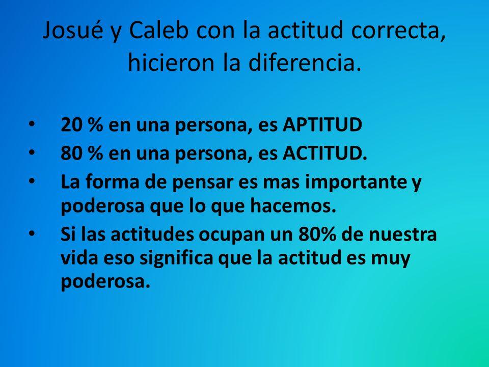Josué y Caleb con la actitud correcta, hicieron la diferencia. 20 % en una persona, es APTITUD 80 % en una persona, es ACTITUD. La forma de pensar es