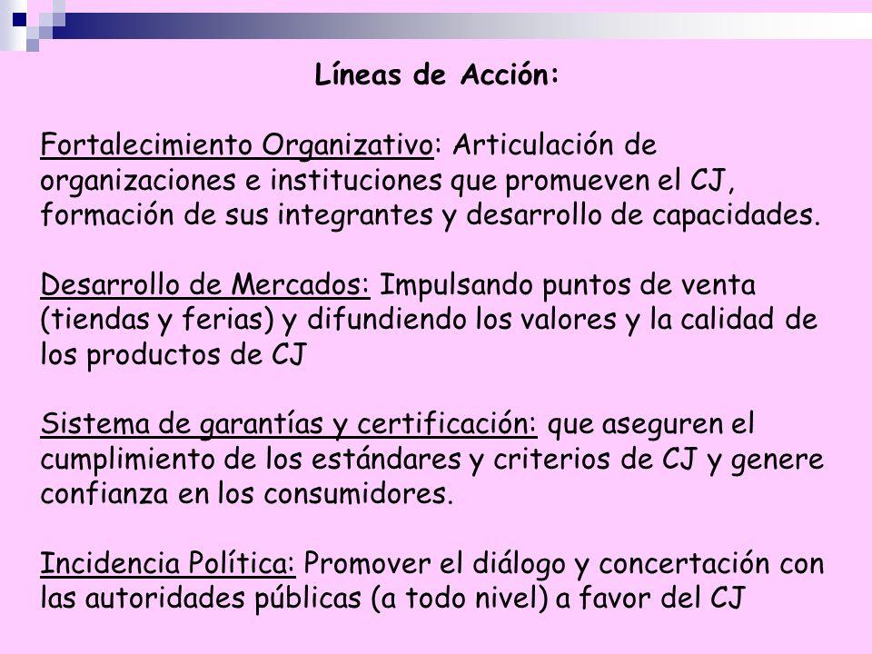 Líneas de Acción: Fortalecimiento Organizativo: Articulación de organizaciones e instituciones que promueven el CJ, formación de sus integrantes y des