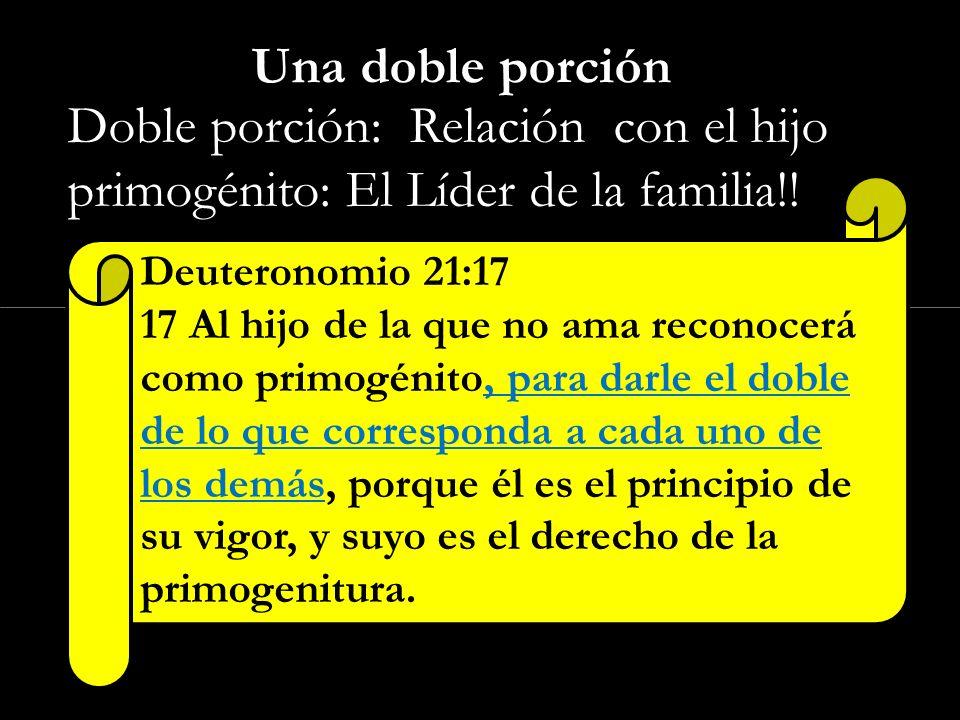 Click to edit Master subtitle style Una doble porción 1. Doble porción: Relación con el hijo primogénito: El Líder de la familia!! Deuteronomio 21:17