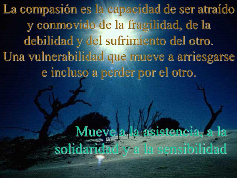 La compasión es la capacidad de ser atraído y conmovido de la fragilidad, de la debilidad y del sufrimiento del otro.