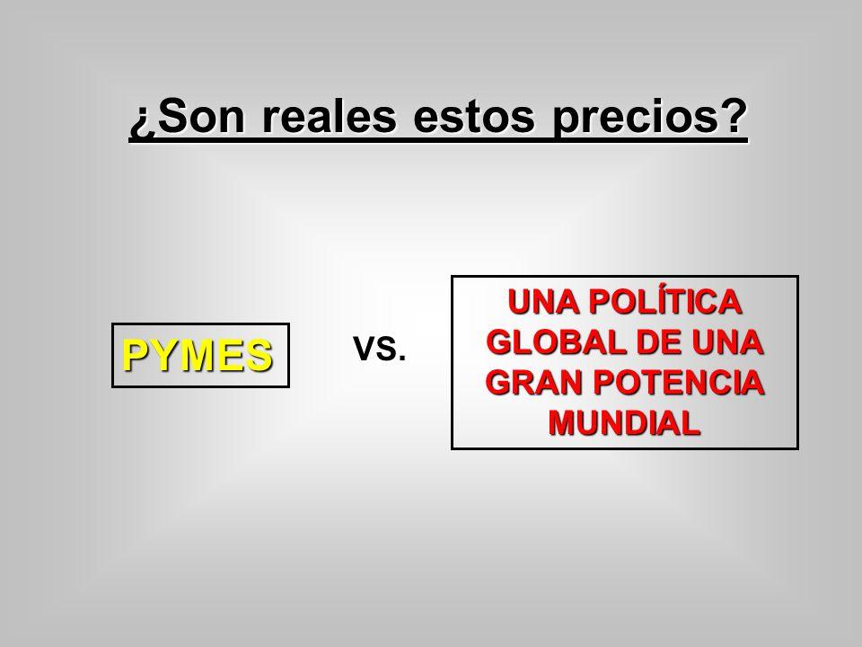 ¿Son reales estos precios? PYMES UNA POLÍTICA GLOBAL DE UNA GRAN POTENCIA MUNDIAL VS.