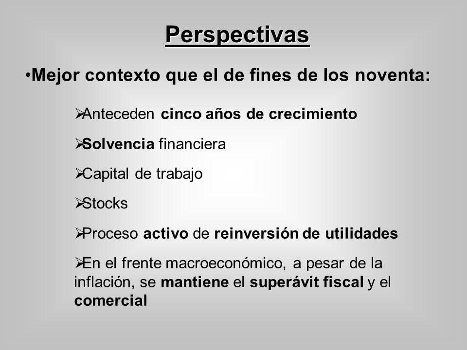 Perspectivas Anteceden cinco años de crecimiento Solvencia financiera Capital de trabajo Stocks Proceso activo de reinversión de utilidades En el fren