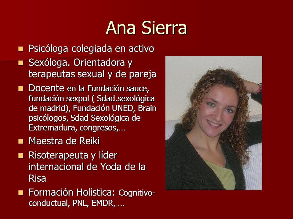 Ana Sierra Psicóloga colegiada en activo Psicóloga colegiada en activo Sexóloga. Orientadora y terapeutas sexual y de pareja Sexóloga. Orientadora y t