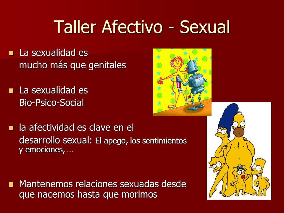 Taller Afectivo - Sexual La sexualidad es La sexualidad es mucho más que genitales La sexualidad es La sexualidad esBio-Psico-Social la afectividad es