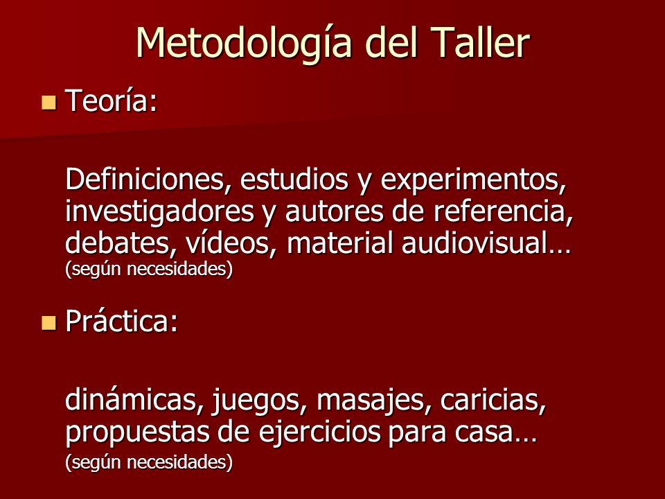 Metodología del Taller Teoría: Teoría: Definiciones, estudios y experimentos, investigadores y autores de referencia, debates, vídeos, material audiov