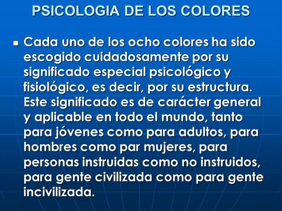PSICOLOGIA DE LOS COLORES Cada uno de los ocho colores ha sido escogido cuidadosamente por su significado especial psicológico y fisiológico, es decir