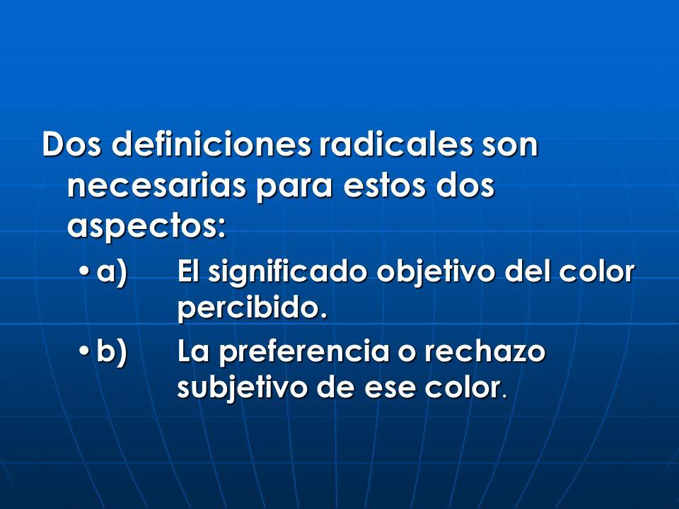 Dos definiciones radicales son necesarias para estos dos aspectos: a)El significado objetivo del color percibido. a)El significado objetivo del color