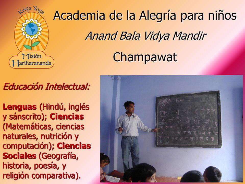 Educación Intelectual: Lenguas (Hindú, inglés y sánscrito); Ciencias (Matemáticas, ciencias naturales, nutrición y computación); Ciencias Sociales (Geografía, historia, poesía, y religión comparativa).