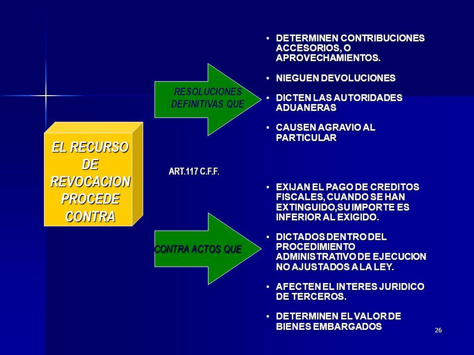 25 EL RECURSO DEREVOCACION LOS ACTOS ADMINISTRATIVOS DICTADOS EN MATERIA FISCAL FEDERAL PROCEDECONTRAPROCEDECONTRA ART.116 C.F.F.
