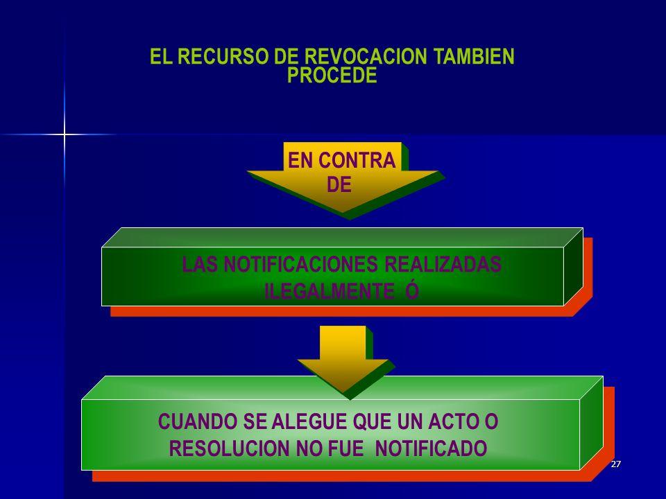 26 EL RECURSO DE REVOCACION PROCEDE CONTRA RESOLUCIONES DEFINITIVAS QUE DETERMINEN CONTRIBUCIONES ACCESORIOS, O APROVECHAMIENTOS.DETERMINEN CONTRIBUCIONES ACCESORIOS, O APROVECHAMIENTOS.