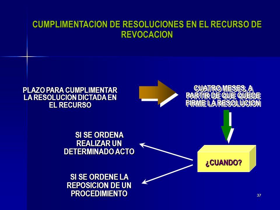 36 Mandar reponer el procedimiento administrativo o que se emita una nueva resolución Dejar sin efectos el acto impugnado.
