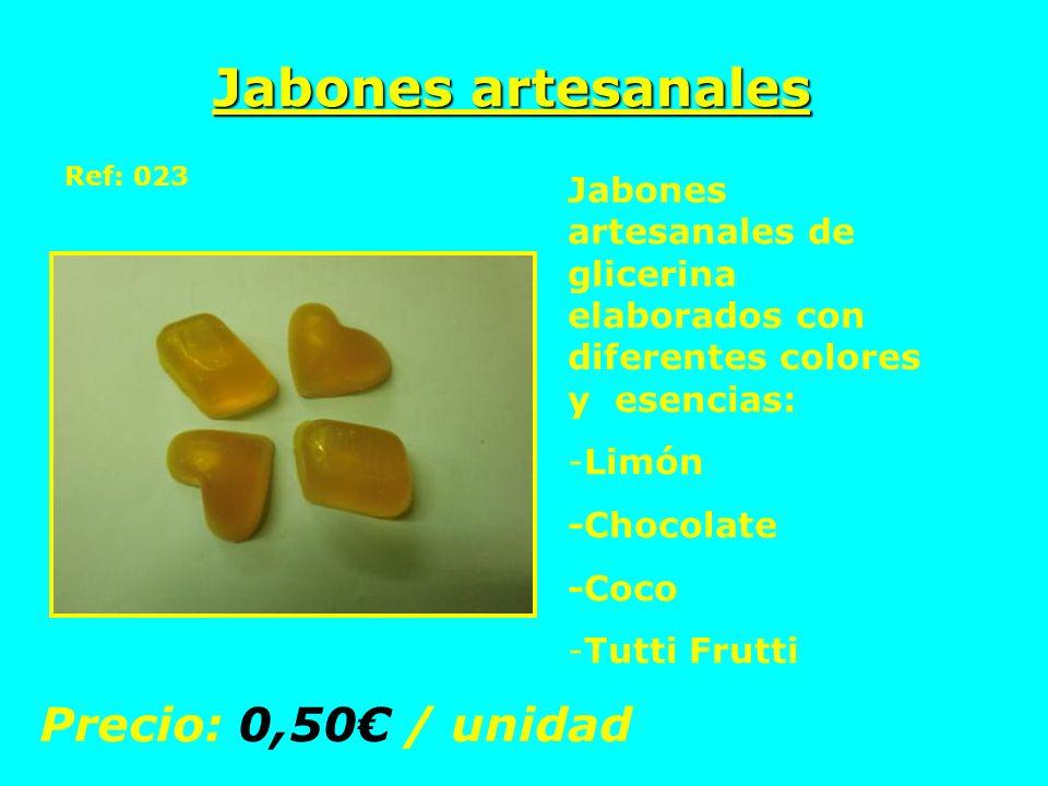 Jabones artesanales Ref: 023 Jabones artesanales de glicerina elaborados con diferentes colores y esencias: -Limón -Chocolate -Coco -Tutti Frutti Prec