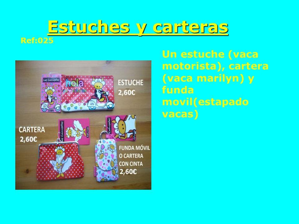 Estuches y carteras Ref:025 Un estuche (vaca motorista), cartera (vaca marilyn) y funda movil(estapado vacas)