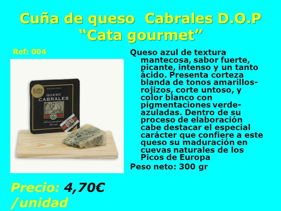 Cuña de queso Cabrales D.O.P Cata gourmet Queso azul de textura mantecosa, sabor fuerte, picante, intenso y un tanto ácido. Presenta corteza blanda de