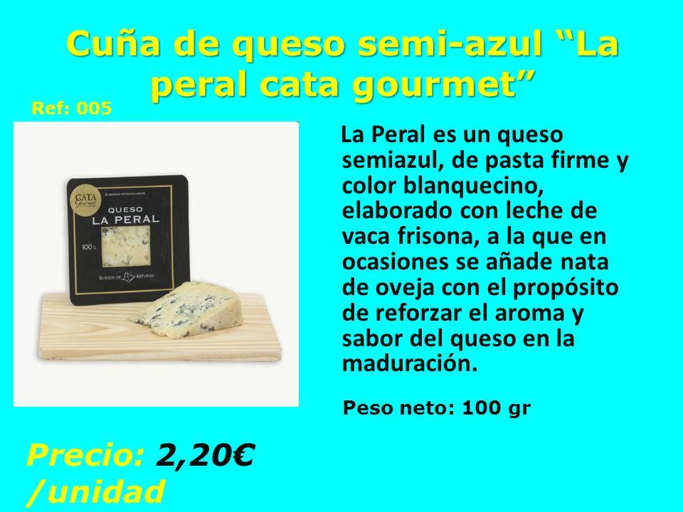 Cuña de queso semi-azul La peral cata gourmet La Peral es un queso semiazul, de pasta firme y color blanquecino, elaborado con leche de vaca frisona,