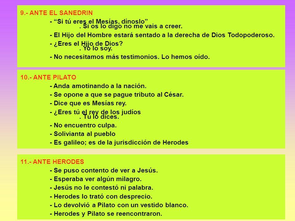 9.- ANTE EL SANEDRIN - Si tú eres el Mesías, dínoslo. Si os lo digo no me vais a creer. - El Hijo del Hombre estará sentado a la derecha de Dios Todop