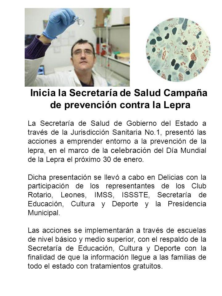 La Secretaría de Salud de Gobierno del Estado a través de la Jurisdicción Sanitaria No.1, presentó las acciones a emprender entorno a la prevención de la lepra, en el marco de la celebración del Día Mundial de la Lepra el próximo 30 de enero.