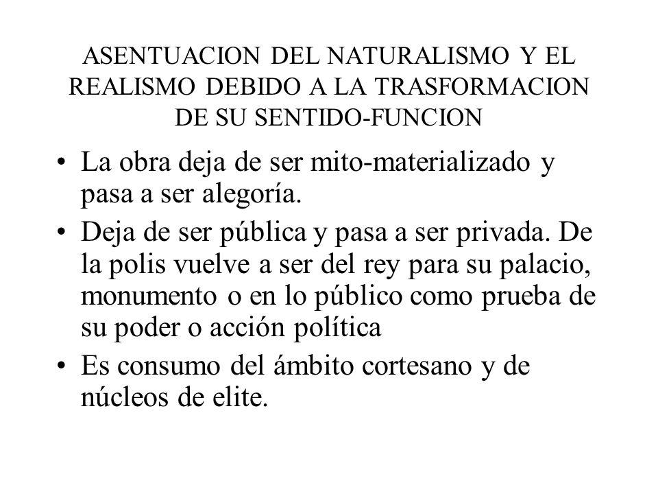 ASENTUACION DEL NATURALISMO Y EL REALISMO DEBIDO A LA TRASFORMACION DE SU SENTIDO-FUNCION La obra deja de ser mito-materializado y pasa a ser alegoría.