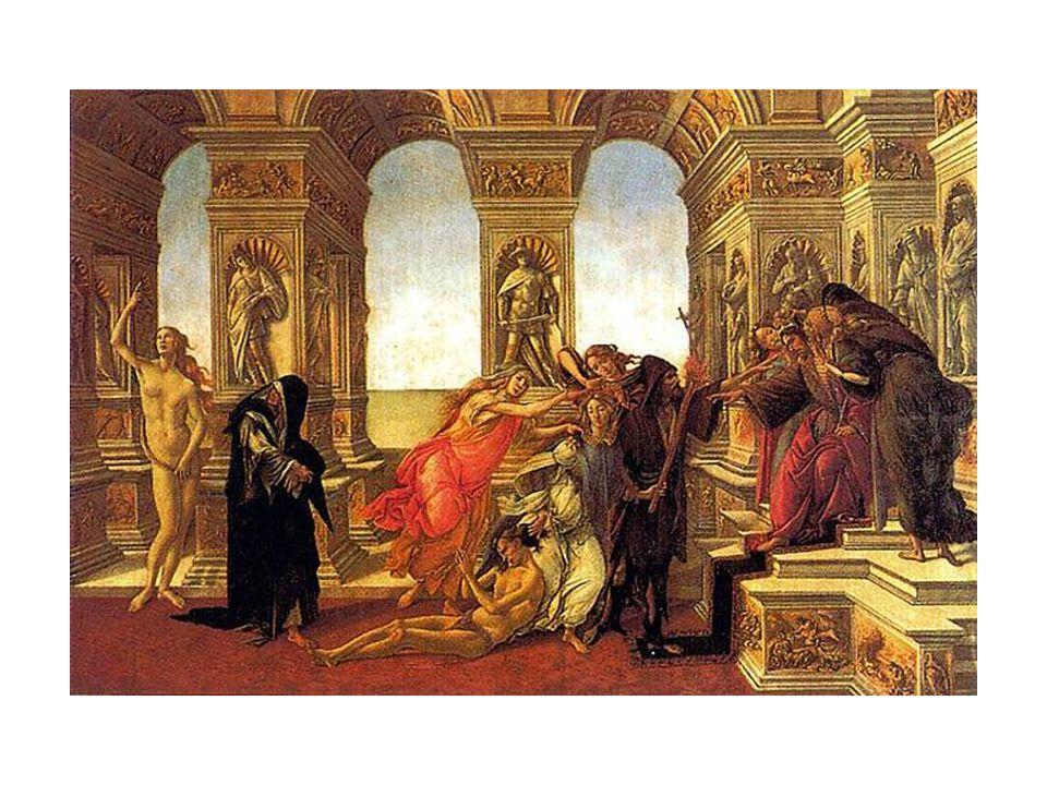 El tema es alegórico; se basa en una descripción literaria sobre una pintura de Apeles, descrita por Luciano de Samosata en uno de sus Diálogos.