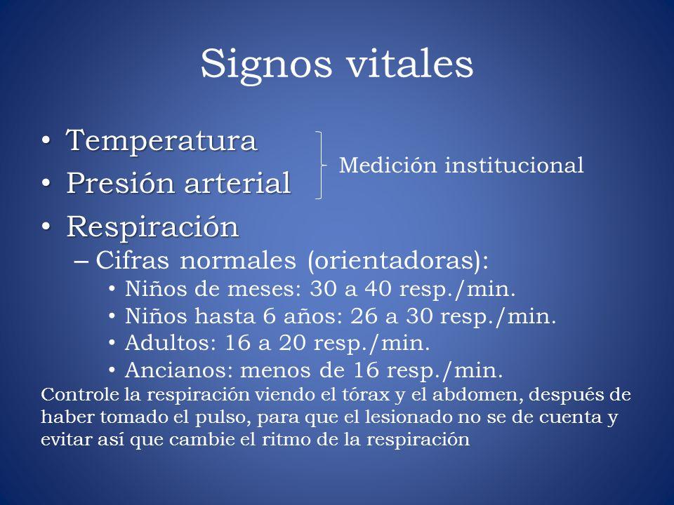 Signos vitales Temperatura Temperatura Presión arterial Presión arterial Respiración Respiración – Cifras normales (orientadoras): Niños de meses: 30