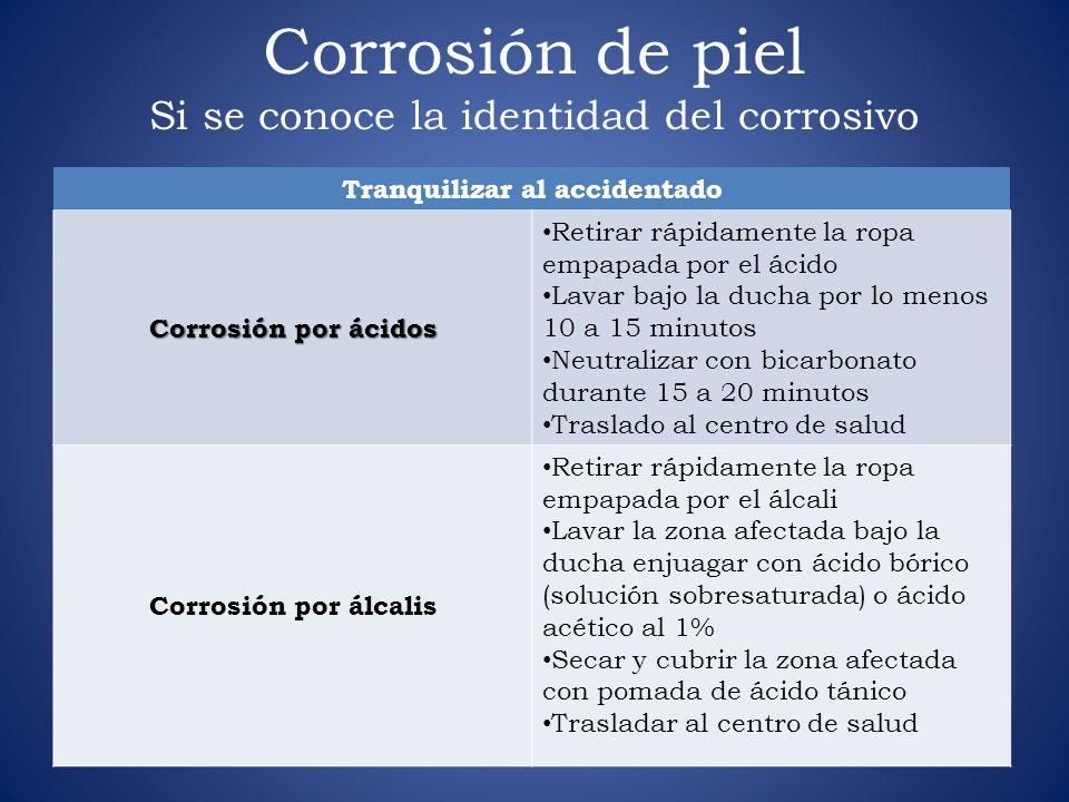 Corrosión de piel Si se conoce la identidad del corrosivo Tranquilizar al accidentado Corrosión por ácidos Retirar rápidamente la ropa empapada por el