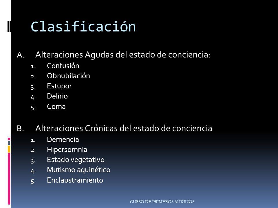 Clasificación A.Alteraciones Agudas del estado de conciencia: 1.