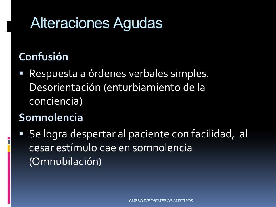 Alteraciones Agudas Confusión Respuesta a órdenes verbales simples.