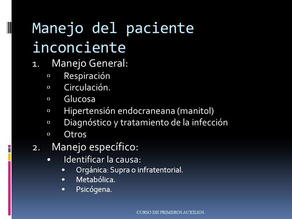 Manejo del paciente inconciente 1.Manejo General: Respiración Circulación.
