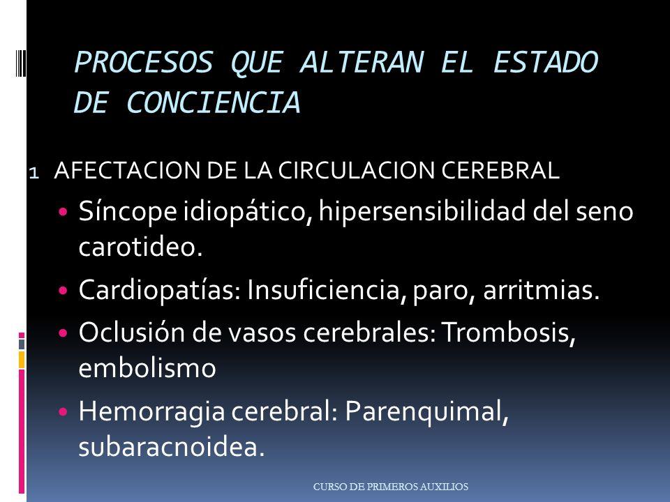 PROCESOS QUE ALTERAN EL ESTADO DE CONCIENCIA 1 AFECTACION DE LA CIRCULACION CEREBRAL Síncope idiopático, hipersensibilidad del seno carotideo.