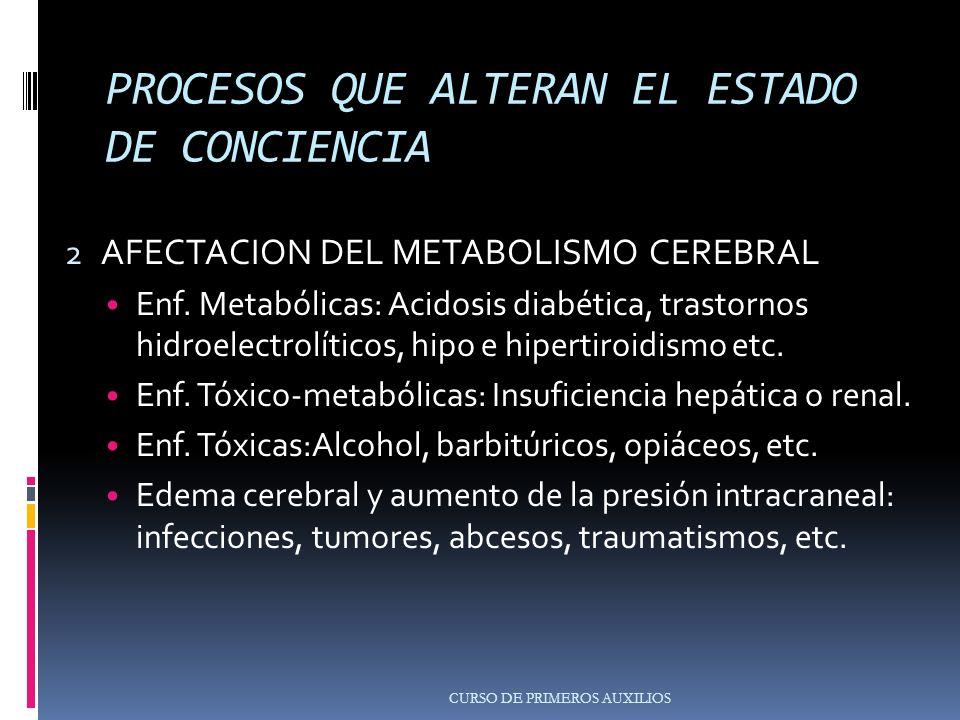 PROCESOS QUE ALTERAN EL ESTADO DE CONCIENCIA 2 AFECTACION DEL METABOLISMO CEREBRAL Enf.