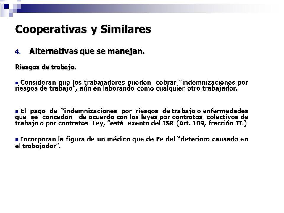 Cooperativas y Similares 4. Alternativas que se manejan. Riesgos de trabajo. Consideran que los trabajadores pueden cobrar indemnizaciones por riesgos