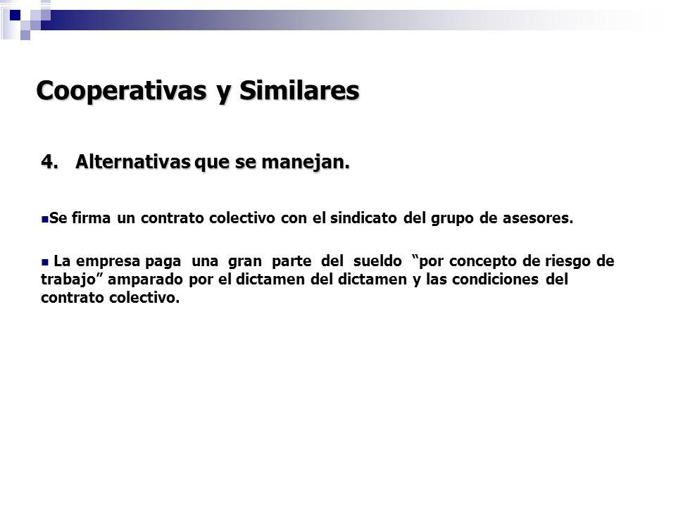 Cooperativas y Similares 4. Alternativas que se manejan. Se firma un contrato colectivo con el sindicato del grupo de asesores. La empresa paga una gr