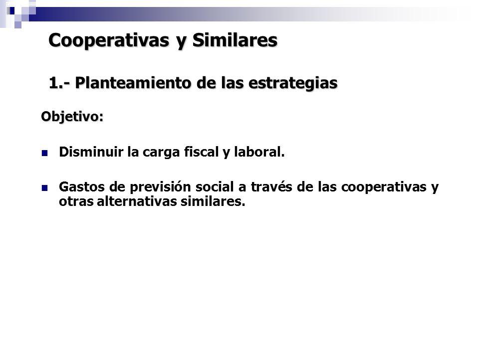 Cooperativas y Similares 1.- Planteamiento de las estrategias Objetivo: Disminuir la carga fiscal y laboral. Gastos de previsión social a través de la