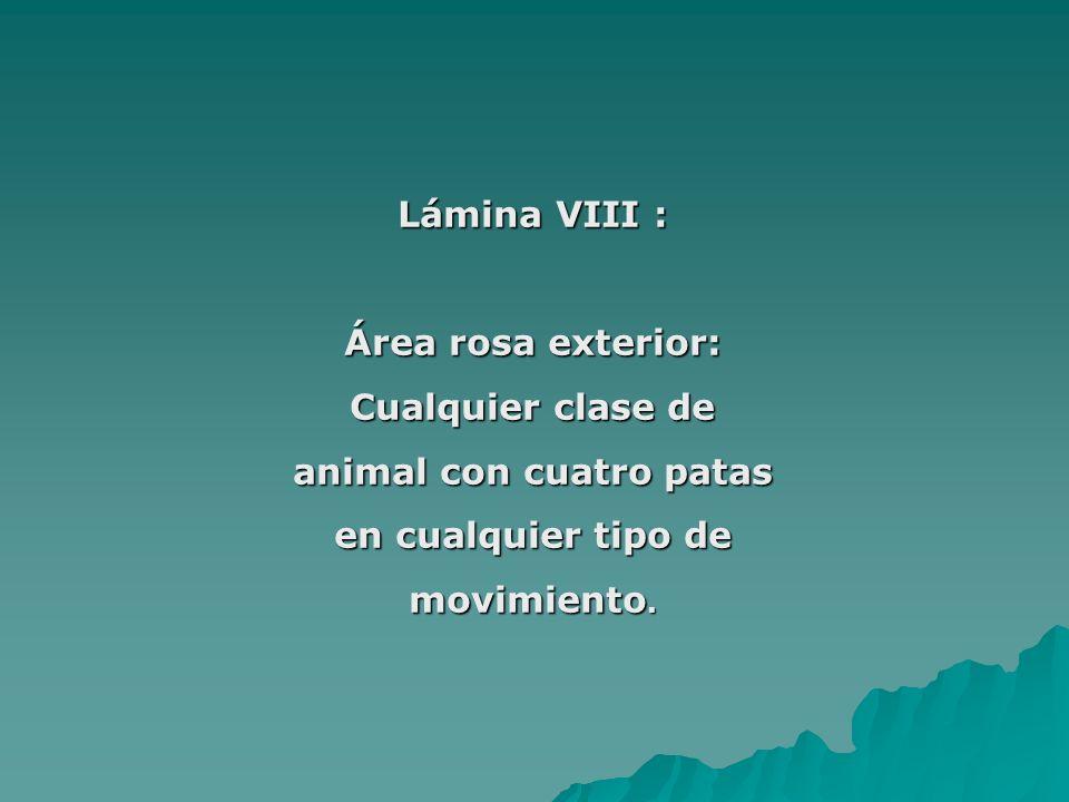 Lámina VIII : Área rosa exterior: Cualquier clase de animal con cuatro patas en cualquier tipo de movimiento.