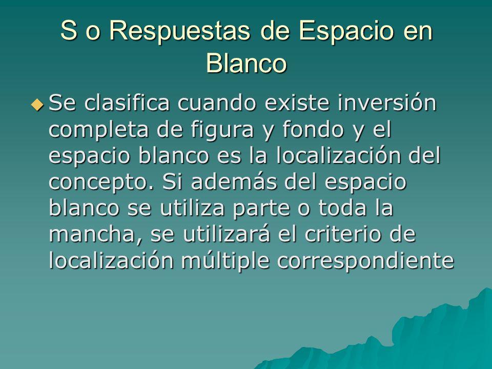 S o Respuestas de Espacio en Blanco Se clasifica cuando existe inversión completa de figura y fondo y el espacio blanco es la localización del concept