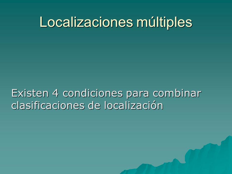 Localizaciones múltiples Existen 4 condiciones para combinar clasificaciones de localización
