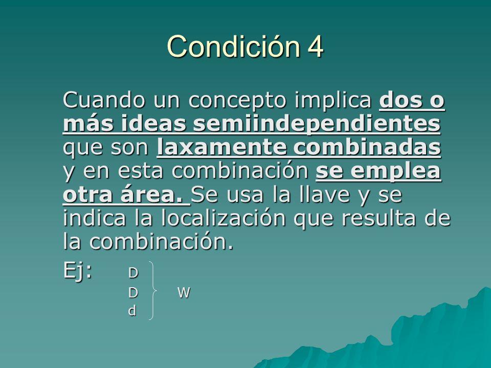 Condición 4 Cuando un concepto implica dos o más ideas semiindependientes que son laxamente combinadas y en esta combinación se emplea otra área. Se u