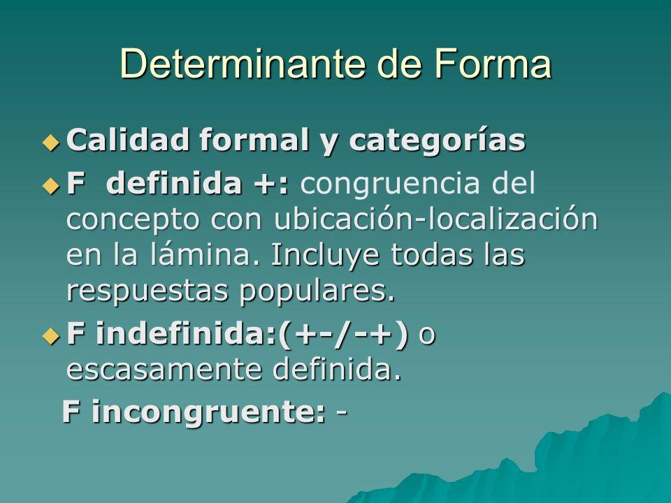 Determinante de Forma Calidad formal y categorías Calidad formal y categorías F definida+: concepto con ubicación-localización en la lámina. Incluye t