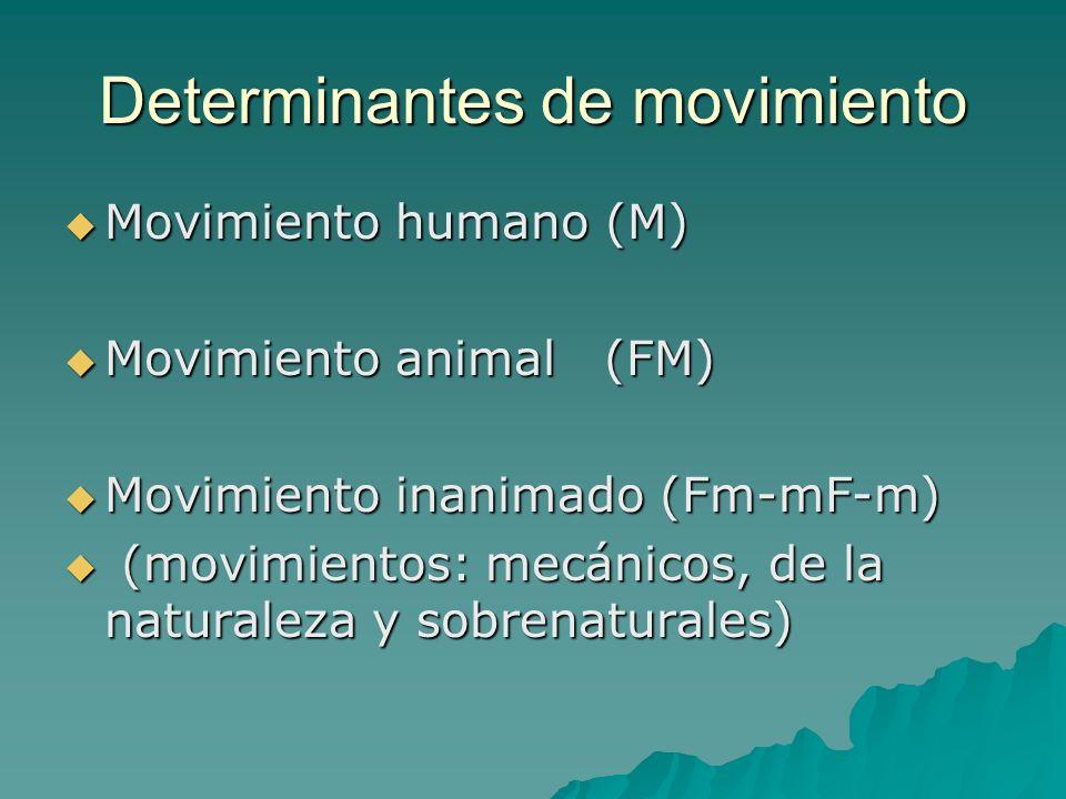 Determinantes de movimiento Movimiento humano (M) Movimiento humano (M) Movimiento animal (FM) Movimiento animal (FM) Movimiento inanimado (Fm-mF-m) M